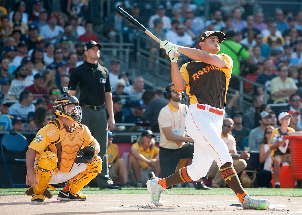 The Dodgers' Corey Seager hits a home run during the 2016 Home Run Derby at Petco Park in San Diego on Monday.<br /> <br /> ///ADDITIONAL INFO:   <br /> <br /> derby.0712.kjs  ---  Photo by KEVIN SULLIVAN / Orange County Register  -- 7/11/16<br /> <br /> The 206 MLB All-Star Game at Petco Park in San Diego. <br /> <br /> Villa Park native and former Angel Mark Trumbo competes in the Home-run Derby.