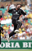 Chris Cairns celebrates the wicket of Michael Clarke, caught behind for six during game two of the Chappell-Hadlee Trophy between Australia and New Zealand played at the Sydney Cricket Ground December 8, 2004 in Sydney, Australia. <br />