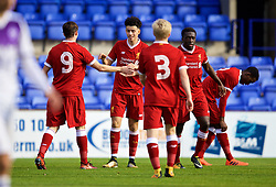 BIRKENHEAD, ENGLAND - Wednesday, November 1, 2017: Liverpool's Curtis Jones celebrates scoring the first goal during the UEFA Youth League Group E match between Liverpool and NK Maribor at Prenton Park. (Pic by David Rawcliffe/Propaganda)