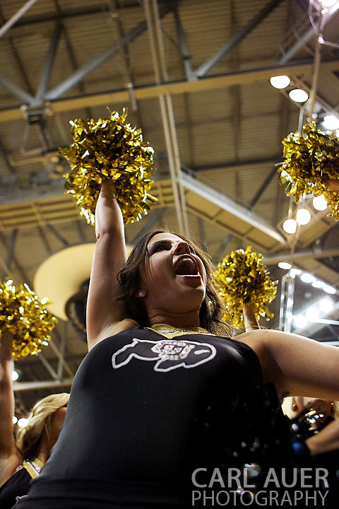 December 5, 2012: A Colorado cheerleader in action in the NCAA Basketball game between the Colorado State Rams and the Colorado Buffaloes at the Coors Event Center in Boulder Colorado