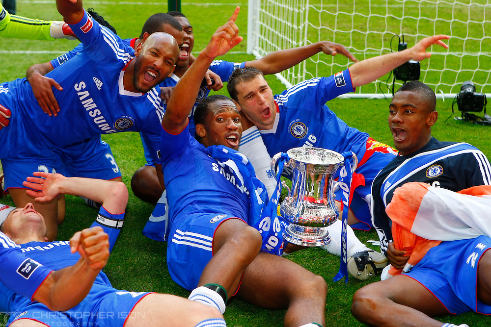Chelsea celebrate their FA Cup final win over Portsmouth.