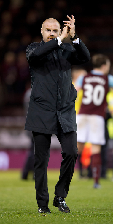 Burnley manager Sean Dyche claps his team's home support following the Barclays Premier League match at Turf Moor, Burnley<br /> Picture by Russell Hart/Focus Images Ltd 07791 688 420<br /> 13/12/2014