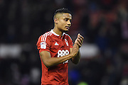 Nottingham Forest defender Michael Mancienne (4) applauds the Forest fans after winning 1-0 during the EFL Sky Bet Championship match between Nottingham Forest and Bristol City at the City Ground, Nottingham, England on 21 January 2017. Photo by Jon Hobley.