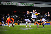 Will Atkinson of Southend United clears from AJ Leitch-Smith of Port Vale during the Sky Bet League 1 match between Port Vale and Southend United at Vale Park, Burslem, England on 26 February 2016. Photo by Mike Sheridan.