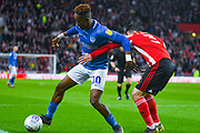 Jamal Lowe of Portsmouth (10) in action during the EFL Sky Bet League 1 first leg Play Off match between Sunderland and Portsmouth at the Stadium Of Light, Sunderland, England on 11 May 2019.