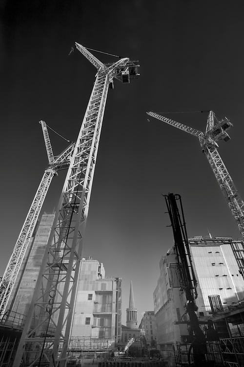 cranes at BBC Broadcasting House during construction
