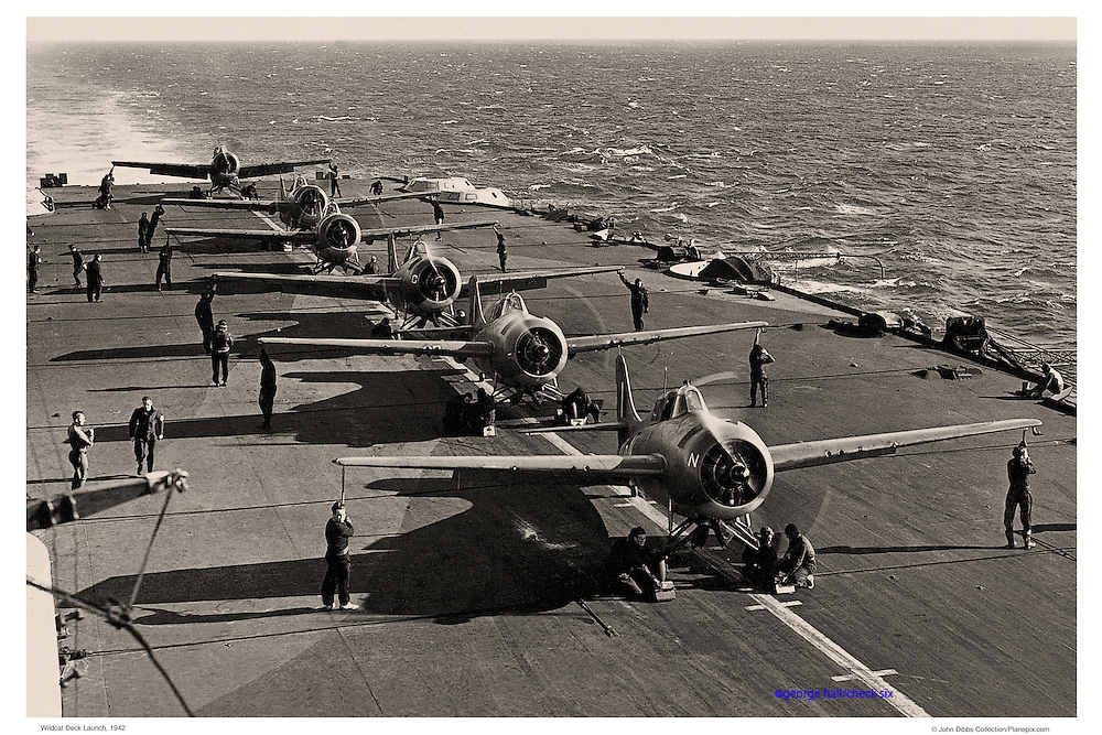 F-4 Wildcats on carrier deck, WWII