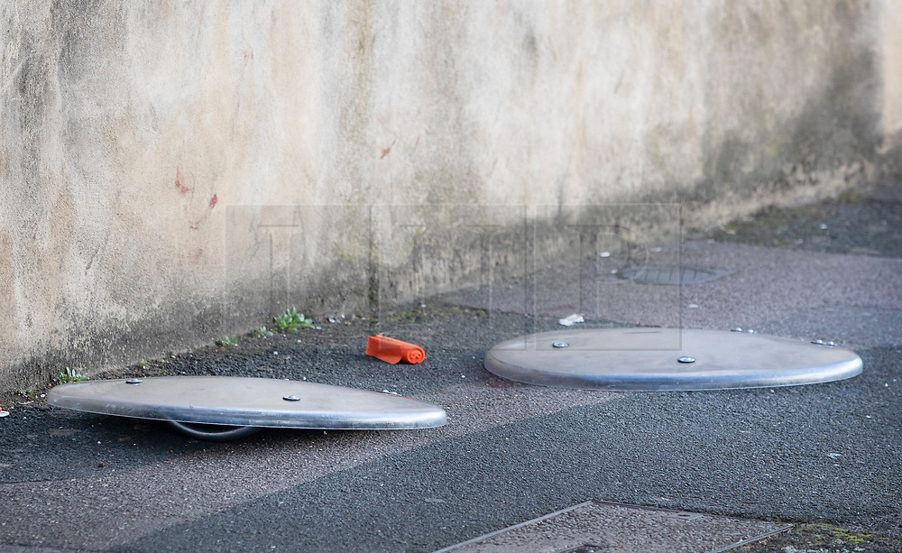 © Licensed to London News Pictures. 07/03/2019. London, UK. Police riot shields cover evidence next to a blood stained wall at the crime scene in North Birkbeck Road in Leyton in east London where a murder investigation has been launched after a man in his twenties was stabbed on Wednesday. Photo credit: Peter Macdiarmid/LNP