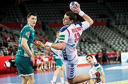 Mijajlo Marsenic of Serbia during handball match between National teams of Serbia and Belarus on Day 7 in Main Round of Men's EHF EURO 2018, on January 24, 2018 in Arena Zagreb, Zagreb, Croatia.  Photo by Vid Ponikvar / Sportida
