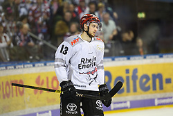 01.03.2019, O2 World, Berlin, GER, DEL, Eisbaeren Berlin vs Koelner Haie, 52. Runde, im Bild Lucas Dumont #13 - Haie // during the DEL 52th round match between Eisbaeren Berlin and Koelner Haie at the O2 World in Berlin, Germany on 2019/03/01. EXPA Pictures © 2019, PhotoCredit: EXPA/ Eibner-Pressefoto/ Uwe Koch<br /> <br /> *****ATTENTION - OUT of GER*****