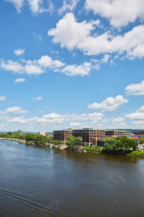 Buildings; Downtown; Location; Outside; Time/Weather; day; Downtown La Crosse views; view from Cass street bridge downtown; River