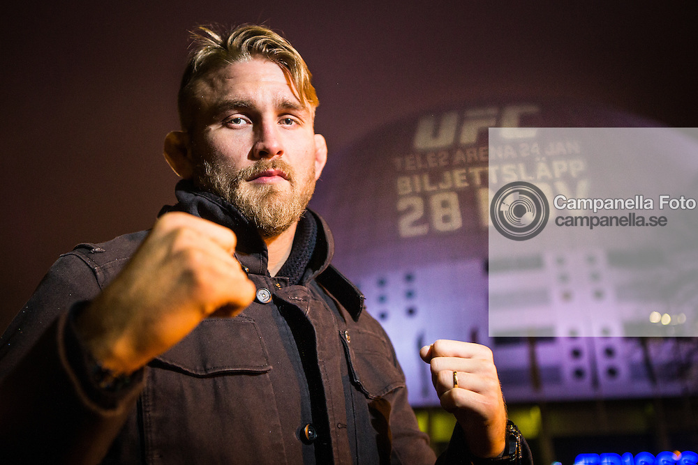 Stockholm 2014-11-21: UFC fighter Alexander Gustafsson poses in front of the Ericsson Globe Arena durring a press tour in Stockholm, Sweden. <br />