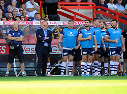 Bristol Director of Rugby Andy Robinson watches from the sidelines  - Photo mandatory by-line: Joe Meredith/JMP - Mobile: 07966 386802 - 7/09/14 - SPORT - RUGBY - Bristol - Ashton Gate - Bristol Rugby v Worcester Warriors - The Rugby Championship