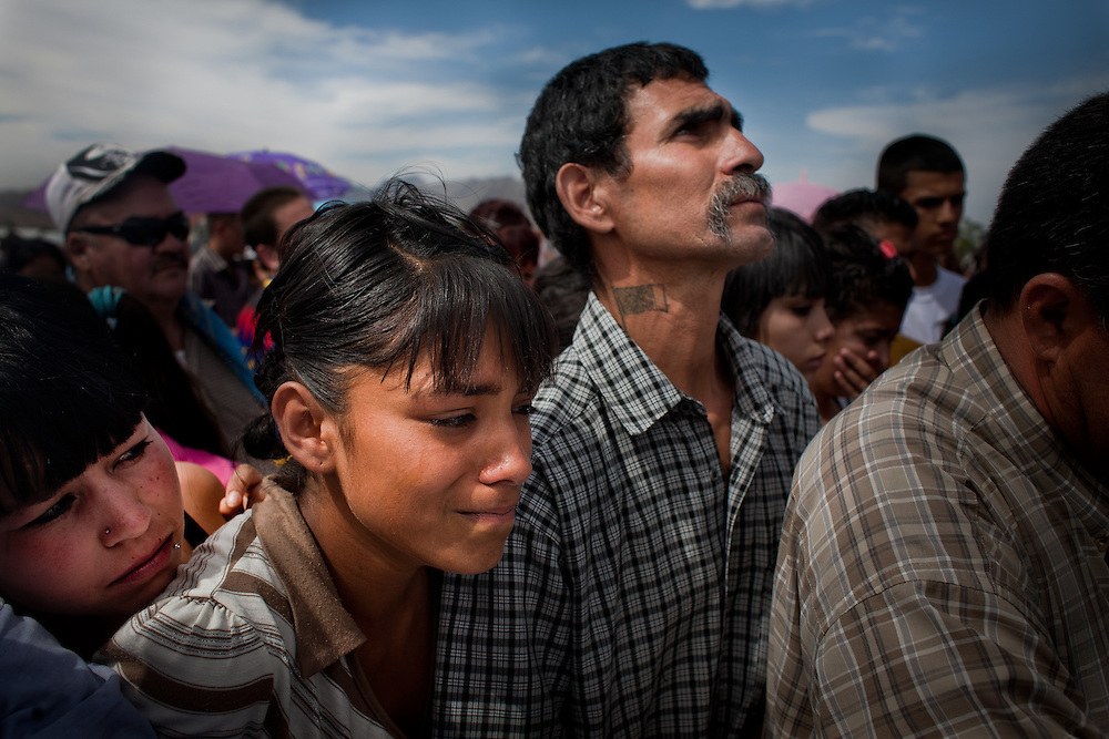 Family and friends gather attend the funeral of 15-year-old Sergio Adrian Hernandez Guereca, who was killed on June 7th by a Border Patrol agent in Ciudad Juarez on June 10, 2010.
