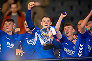 Daniel Finlayson (#5), captain of Rangers FC holds the Scottish FA Youth Cup after winning the match between Celtic and Rangers at Hampden Park, Glasgow, United Kingdom on 25 April 2019.