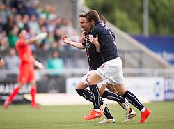 Falkirk's Craig Sibbald celebrates after scoring their goal. Falkirk 1 v 2 Hibernian, the first Scottish Championship game of season 2016/17, played 6/8/2016 at The Falkirk Stadium.
