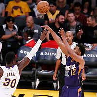 06 November 2016: Phoenix Suns forward TJ Warren (12) takes a jump shot over Los Angeles Lakers forward Julius Randle (30) during the LA Lakers 119-108 victory over the Phoenix Suns, at the Staples Center, Los Angeles, California, USA.