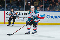 KELOWNA, CANADA - JANUARY 30:  Lassi Thomson #2 of the Kelowna Rockets skates with the puck against the Seattle Thunderbirds on January 30, 2019 at Prospera Place in Kelowna, British Columbia, Canada.  (Photo by Marissa Baecker/Shoot the Breeze)