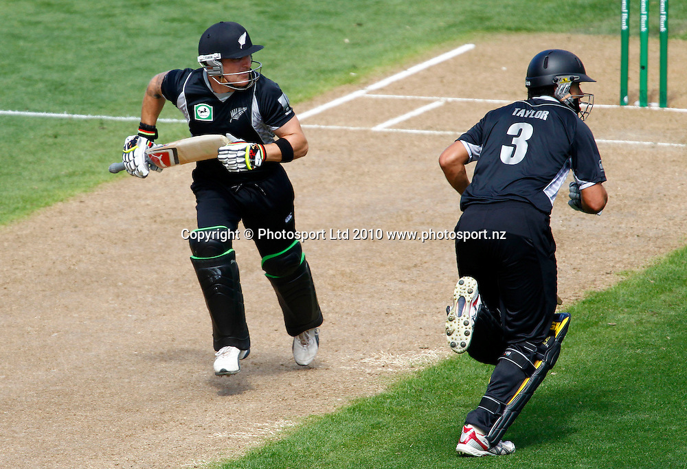 Blackcaps batsmen Brendon McCullum (L) and Ross taylor take a single. 4th one day international. New Zealand Black Caps versus Australia one day Chappell Hadlee cricket series. Eden Park, Auckland, New Zealand. Thursday 11 March 2010. Photo: Simon Watts/PHOTOSPORT