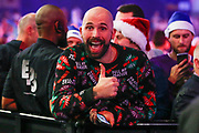 A happy darts fan during the PDC World Championship darts at Alexandra Palace, London, United Kingdom on 14 December 2018.