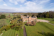 Aerial view of Scone Palace, rebuilt 1802-12 by William Atkinson in late Georgian Gothic style, Perthshire, Scotland. There was originally a church, then priory, then abbey on this site before it became a home. In the grounds is the coronation site of the kings of Scotland. The palace is now open to the public. Picture by Manuel Cohen