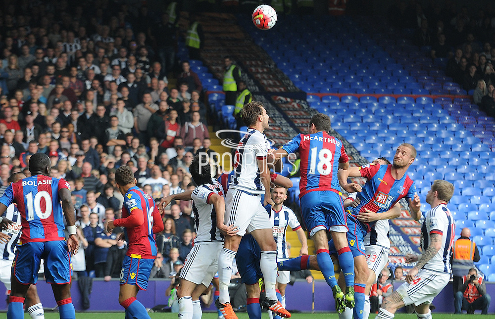 Brede Hangeland with the headed chance in a crowded area during the Barclays Premier League match between Crystal Palace and West Bromwich Albion at Selhurst Park, London, England on 3 October 2015. Photo by Michael Hulf.