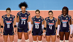 08-01-2016 TUR: European Olympic Qualification Tournament Nederland - Italie, Ankara<br /> De volleybaldames hebben op overtuigende wijze de finale van het olympisch kwalificatietoernooi in Ankara bereikt. Italië werd in de halve finales met 3-0 (25-23, 25-21, 25-19) aan de kant gezet / Cristina Chirichella #11 of Italie, Valentina Diouf #17 of Italie, Francesca Ferretti #10 of Italie, Alessia Orro #4 of Italie, Paola Ogechi Egonu #18 of Italie