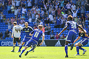 Cardiff's Craig Noone runs off in celebration after scoring the equaliser  during the Sky Bet Championship match between Cardiff City and Fulham at the Cardiff City Stadium, Cardiff, Wales on 8 August 2015. Photo by Shane Healey.