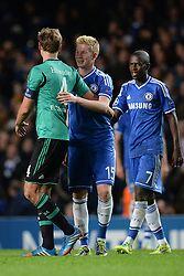 06.11.2013, Stamford Bridge, London, ENG, UEFA CL, FC Chelsea vs FC Schalke 04, Gruppe E, im Bild Chelsea's Kevin De Bruyne embraces Schalke's Benedikt Howedes at the end of the match // Chelsea's Kevin De Bruyne embraces Schalke's Benedikt Howedes at the end of the match during UEFA Champions League group E match between FC Chelsea and FC Schalke 04 at the Stamford Bridge in London, Great Britain on 2013/11/06. EXPA Pictures © 2013, PhotoCredit: EXPA/ Mitchell Gunn<br /> <br /> *****ATTENTION - OUT of GBR*****