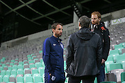 England Manager Gareth Southgate (caretaker) being interviewed during a general stadium walk around before the Slovenia vs England FIFA World Cup Group F Qualifier match at Stadion Stozce, Ljubljana, Slovenia on 10 October 2016. Photo by Phil Duncan.
