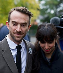 © London News Pictures. 19/10/2012. London, UK. Trenton Oldfield (L) and partner Deepa Naik arriving at Isleworth Crown Court in West London, where Trenton Oldfield is due to be sentenced for a Public Order Act after he swam out into the Thames during the The boat race between Oxford and Cambridge. The incident forced the boats to stop and re-start from the halfway point. Photo credit : Ben Cawthra /LNP