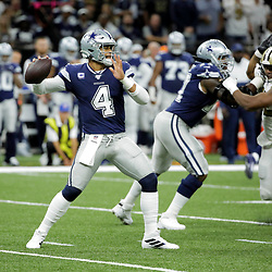 Sep 29, 2019; New Orleans, LA, USA; Dallas Cowboys quarterback Dak Prescott (4) throws against the New Orleans Saints during the first quarter at the Mercedes-Benz Superdome. Mandatory Credit: Derick E. Hingle-USA TODAY Sports