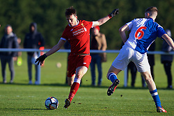 BLACKBURN, ENGLAND - Saturday, January 6, 2018: Liverpool's Liam Millar scores the third goal during an Under-18 FA Premier League match between Blackburn Rovers FC and Liverpool FC at Brockhall Village Training Ground. (Pic by David Rawcliffe/Propaganda)