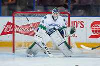 PENTICTON, CANADA - SEPTEMBER 10: Michael Garteig #76 of Vancouver Canucks warms up in net against the Calgary Flames on September 10, 2017 at the South Okanagan Event Centre in Penticton, British Columbia, Canada.  (Photo by Marissa Baecker/Shoot the Breeze)  *** Local Caption ***