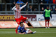 Carlisle United Midfielder Luke Joyce making a vital tackle during the Sky Bet League 2 match between Carlisle United and Stevenage at Brunton Park, Carlisle, England on 20 February 2016. Photo by Craig McAllister.