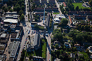 Nederland, Flevoland, Noordoostpolder, 08-09-2009. Stadscentrum Emmeloord, hoofdplaats van de Gemeente Noordoostpolder, grote mast ten behoeve van mobiele telefonie (GSM). .(toeslag); aerial photo (additional fee required); .foto Siebe Swart / photo Siebe Swart