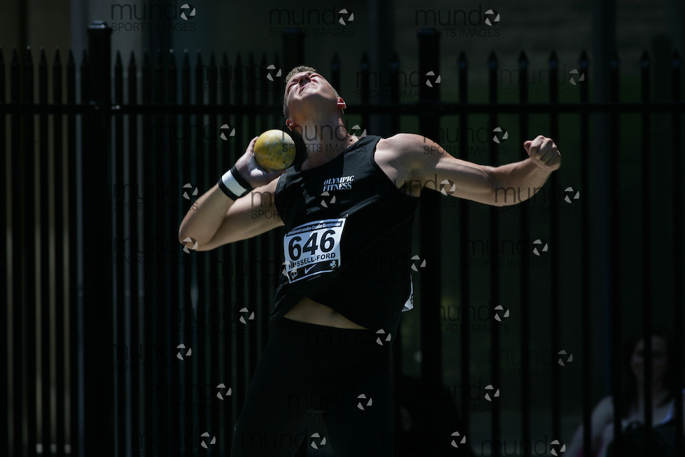 (Toronto, Ontario---27/06/09)   Zachary Russell-Ford competing in  shot put final at the 2009 Canadian National Track and field Championships. Photograph copyright Sean Burges / Mundo Sport Images, 2009. www.mundosportimages.com / www.msievents.