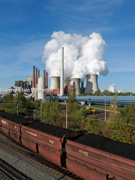 Train delivering coal to Neurath brown coal fired power station in North Rhine Westphalia in Germany