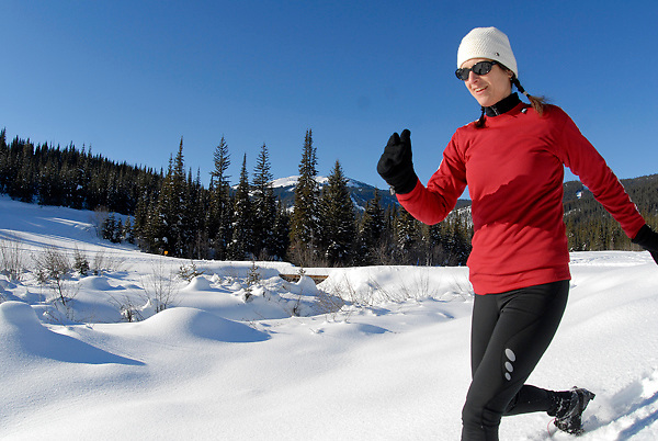 Luis Garneau snowshoes in action at Sun Peaks Resort, British Columbia Canada.