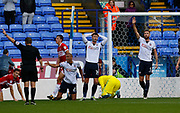 Header narrowly wide by Gary Madine of Bolton Wanderers  during the EFL Sky Bet Championship match between Bolton Wanderers and Middlesbrough at the Macron Stadium, Bolton, England on 9 September 2017. Photo by Paul Thompson.