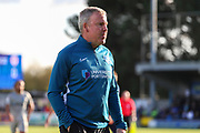 Portsmouth manager Kenny Jackett walking off the pitch during the EFL Sky Bet League 1 match between AFC Wimbledon and Portsmouth at the Cherry Red Records Stadium, Kingston, England on 19 October 2019.
