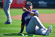 SCOTTSDALE, AZ - MARCH 09:  Gerardo Parra #8 of the Colorado Rockies stretches prior to the spring training game against the San Francisco Giants at Scottsdale Stadium on March 9, 2016 in Scottsdale, Arizona.  The Colorado Rockies won 8-6.  (Photo by Jennifer Stewart/Getty Images) *** Local Caption *** Gerardo Parra