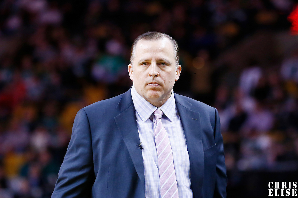 18 January 2013: Chicago Bulls head coach Tom Thibodeau is seen during the Chicago Bulls 100-99 overtime victory over the Boston Celtics at the TD Garden, Boston, Massachusetts, USA.