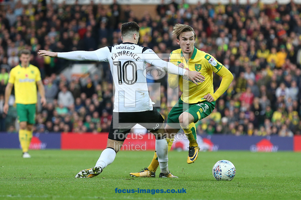 Tom Lawrence of Derby County and James Maddison of Norwich in action during the Sky Bet Championship match at Carrow Road, Norwich<br /> Picture by Paul Chesterton/Focus Images Ltd +44 7904 640267<br /> 28/10/2017