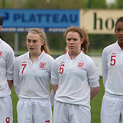 21120413 - IEPER, BELGIUM : Abbey-Leigh Stringer (8), Hollie Kelsh (7),Aoife Mannion (6), Elisha N'Dow (5)  from England are pictured here during the Second qualifying round of U17 Women Championship between England and Iceland on Friday April 13th, 2012 in Ieper, Belgium.