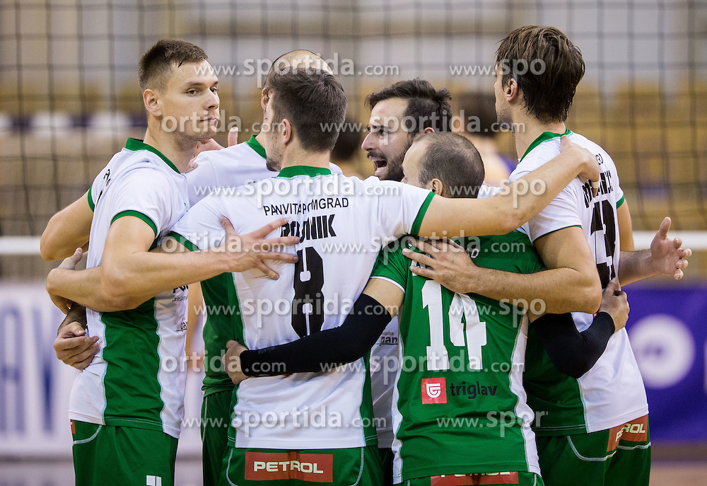 Jakob Rojnik and other players of Panvita Pomgrad celebrate during volleyball match between ACH Volley and Panvita Pomgrad in Round #3 of 1. DOL Men Slovenian League 2016/17, on October 19, 2016 in Tivoli Hall, Ljubljana, Slovenia. Photo by Vid Ponikvar / Sportida