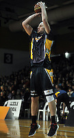 Matt Trueman shoots before the second half, in the NBL match, between the Otago Nuggets and Hawkes Bay, Lion Foundation Arena, Edgar Centre, Dunedin, Otago, New Zealand, Friday, May 24, 2013. Credit: Joe Allison / Allison Images.
