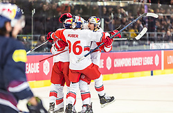 16.01.2019, Eisarena, Salzburg, AUT, CHL, EC Red Bull Salzburg vs EHC Red Bull Muenchen, Halbfinale, Rückspiel, im Bild Torjubel Salzburg Alexander Rauchenwald (EC Red Bull Salzburg), Mario Huber (EC Red Bull Salzburg), Peter Hochkofler (EC Red Bull Salzburg) // during the Champions Hockey League semifinal, 2nd leg match between EC Red Bull Salzburg and EHC Red Bull Muenchen at the Eisarena in Salzburg, Austria on 2019/01/16. EXPA Pictures © 2019, PhotoCredit: EXPA/ JFK