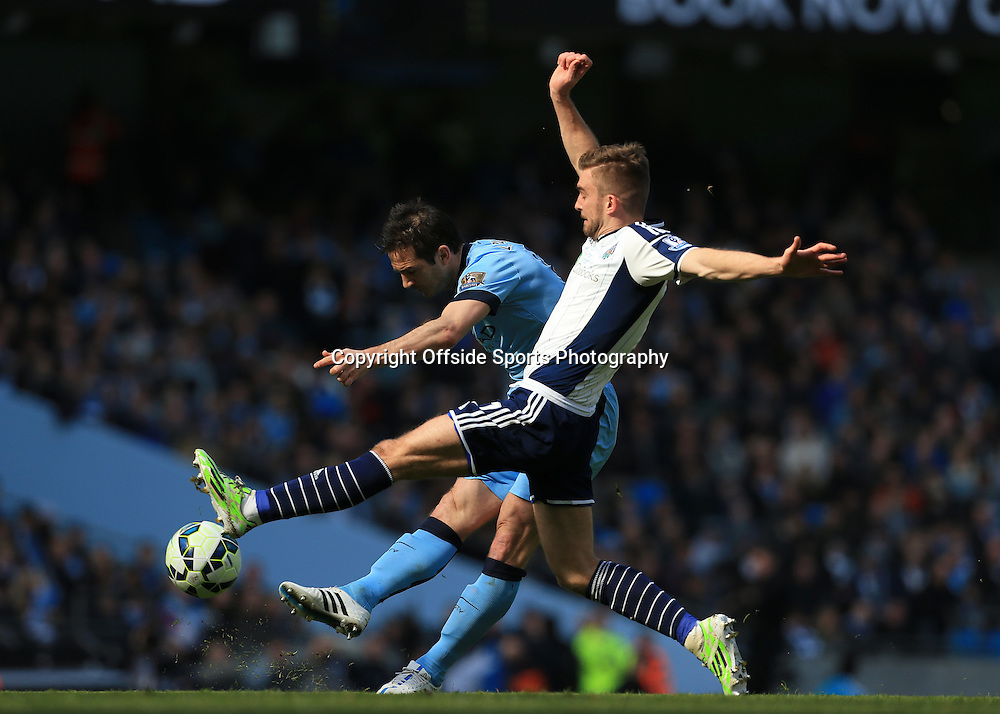 21st March 2015 - Barclays Premier League - Manchester City v West Bromwich Albion - Frank Lampard of Man City shoots past James Morrison of West Brom - Photo: Simon Stacpoole / Offside.