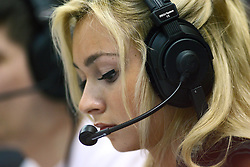 04 February 2012:  Female broadcaster Olivia Mancino from WZND Radio during an NCAA Missouri Valley Conference mens basketball game where the Bradley Braves lost to the Illinois State Redbirds 78 - 48 in Redbird Arena, Normal IL